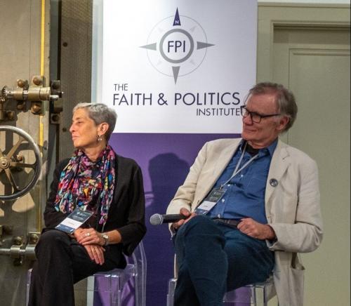 Penn State professor Lori Ginzberg and Yale University professor David Blight listen during a Faith & Politics panel in Geneva, N.Y., on July 21. (Chantale Wong/Faith & Politics Institute)