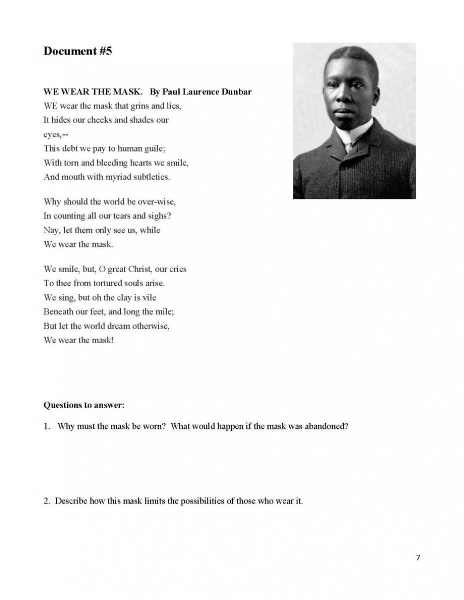 "analysis of we wear the mask by paul laurence dunbar essay Composition ii poetry analysis we will write a custom essay or more of these poems: paul laurence dunbar's ""we wear the mask,"" langston."
