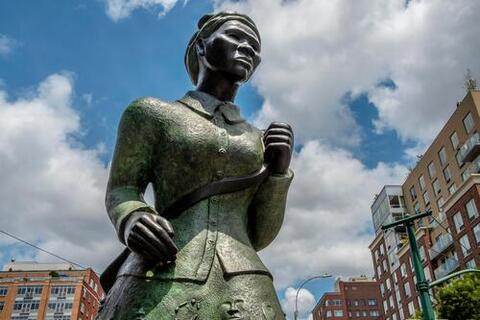 """Monuments to America's true ideals and history, like Alison Saar's Harriet Tubman Memorial, """"Swing Low,"""" in Harlem, should be built nationwide. Credit HSP Archive"""