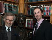 Christopher Hager (right) with filmmaker Steven Spielberg