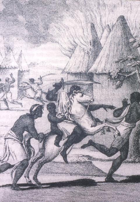 African slave traders attacking a village