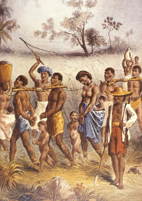 African slave traders marching captives to the sea