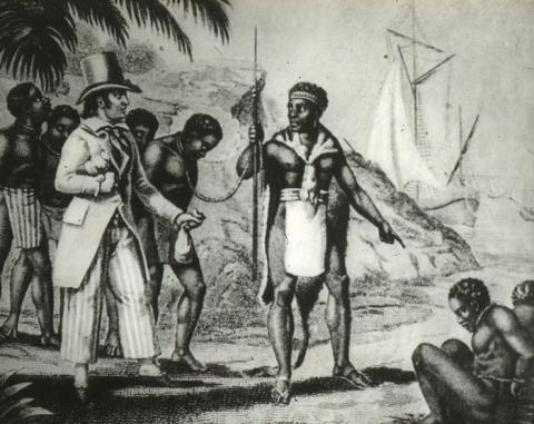 European and African slave traders on the coast of West Africa