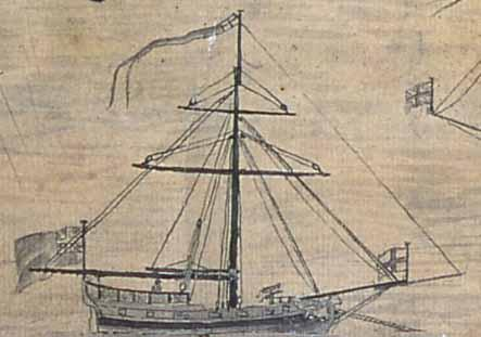 Slave Ship, detail from drawing of Bunce Island, 1749