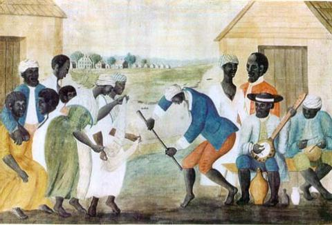"""The Old Plantation"" painting, ca. 1790. Shows leisure activities of slaves in South Carolina during the lifetime of Priscilla"