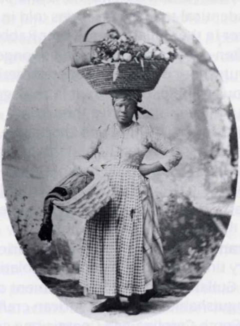 Gullah street vendor, Charleston, ca. 1900  Credit: Gibbs Art Gallery, Charleston