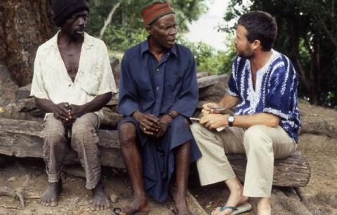 Joseph Opala interviewing an African elder living near Bunce Island (1988)  Photo by Vera Viditz-Ward