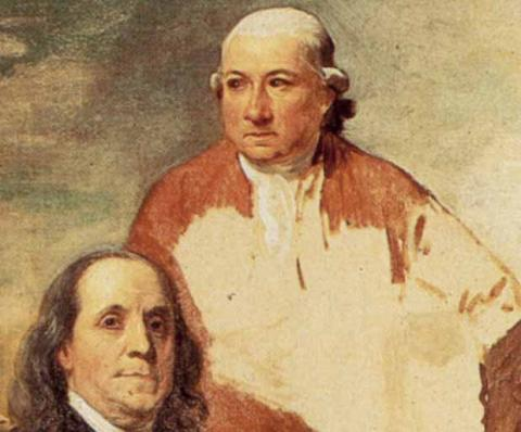 Close-up of Henry Laurens and Benjamin Franklin from the painting by Benjamin West
