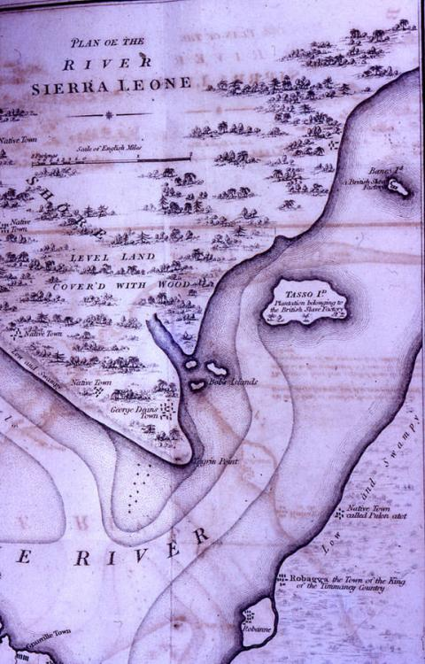 Sierra Leone River in the vicinity of Bunce Island (upper right), from an 18th century map