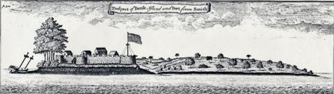 "Drawing of ""Bense Island,"" 1726"