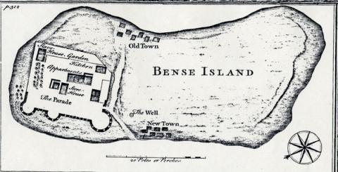 """Plan of """"Bense Island,"""" 1726"""