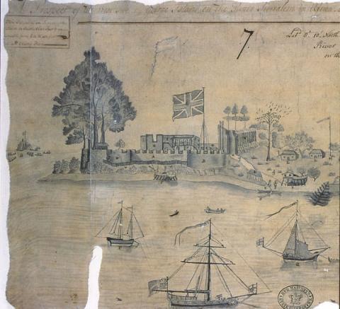 Drawing of Bunce Island, 1749