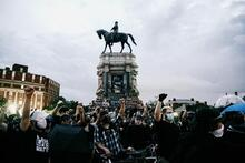 Protesters call for the removal of a Robert E. Lee statue in Richmond, Virginia, in June.Photograph by Eze Amos / Getty