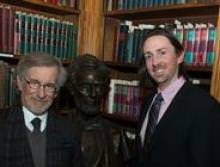 Christopher Hager (right) with filmmaker Steven Spielberg